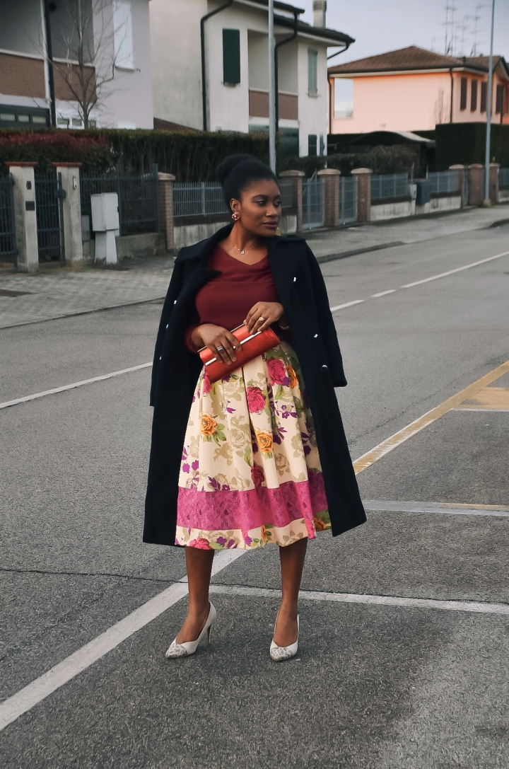 Burgundy and floral prints
